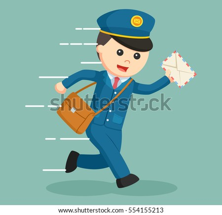 postman running delivering letter
