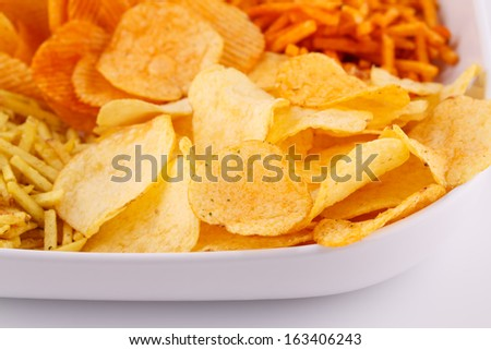 Potato chips in bowl, closeup image.