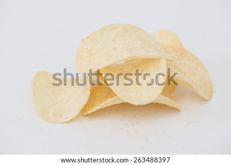 Potato chips isolated on white background