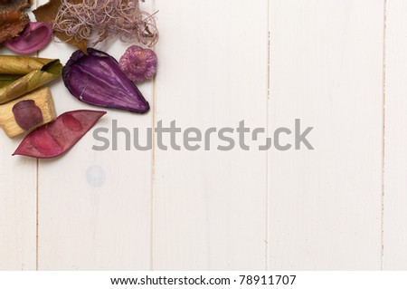 potpourri and wood background