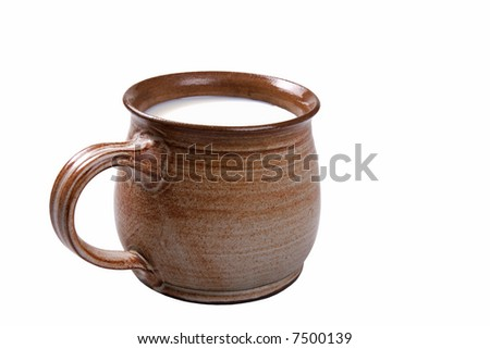 Potty of milk isolated on a white background.