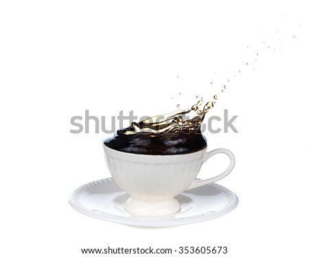 pouring cola splash into glass isolated on white background