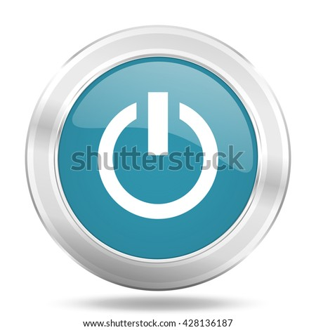 power icon, blue round metallic glossy button, web and mobile app design illustration