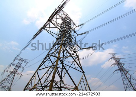 Power Lines, Pylon, Towers connected at power plant