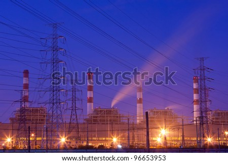 Power plant landscape at night Thailand
