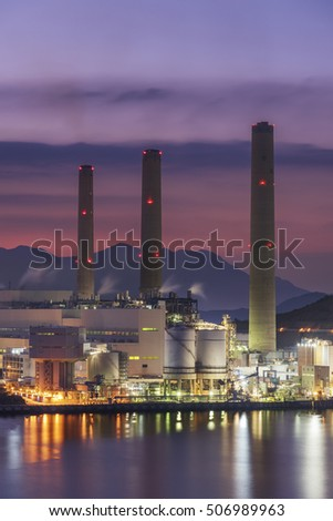 Power station at dusk
