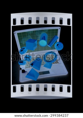 Powerful laptop specially for 3d graphics and software on a black background. The film strip