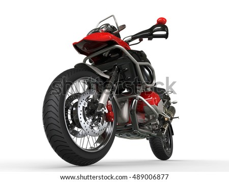 Powerful motorcycle - front wheel closeup shot - 3D Illustration