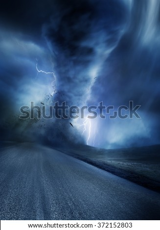Powerful Tornado with debris on a road lit up by lightning. 3D Illustration.