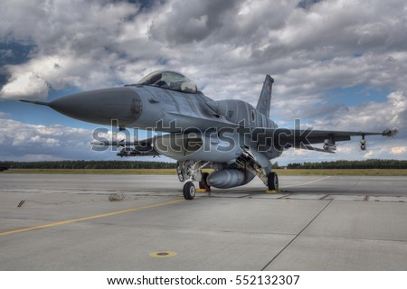 POZNAN, POLAND - JULY 11, 2015:F-16 Fighting Falcon is a single-engine multirole fighter aircraft originally developed by General Dynamics. Polish air force.