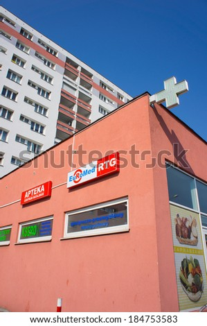POZNAN, POLAND - MARCH 29, 2014: The front part of an pharmacy building on a sunny day