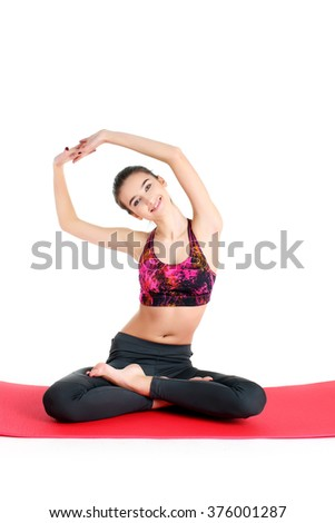 The hell sexy teenage girl sitting on a exercise ball