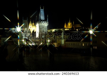 Prague at night. Elements of this image furnished by NASA