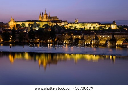 Prague Castle at dusk, Czech Republic.