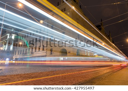 PRAGUE, CZECH - MARCH 15, 2016: Old Town Architecture and Tram in Action in Prague. Long Exposure Photo Shoot.