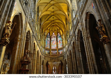 PRAGUE, CZECH REP. - JULY 21: St. Vitus Cathedral on Julye 21, 2015 at Prague, Czech Rep. St. Vitus Cathedral is the coronation church and the resting place of medieval Bohemian kings.