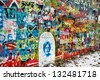 PRAGUE, CZECH REPUBLIC - DECEMBER 11:The Lennon Wall since the 1980s filled with John Lennon-inspired graffiti and pieces of lyrics from Beatles songs on December 11, 2012 Prague, Czech Republic - stock photo