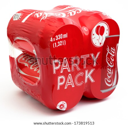 PRAGUE, CZECH REPUBLIC, JANUARY 29, 2014: Coca-Cola multi pack on a white background.