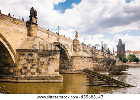 Prague, Czech Republic - 04 July 2016. The summer photo of Charles bridge of Praha, Chezh Republic capital like a point of travel destination.