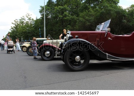 PRAGUE, CZECH REPUBLIC - JUNE 15: Parade of The Prague Club of Historic Cars, The Historic Cars, on June 15, 2013 in Prague, Opletalova Street, Czech Republic.