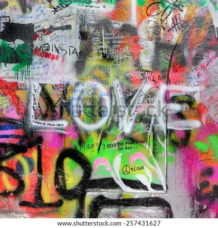PRAGUE, CZECH REPUBLIC - MARCH 03. 2015: The Lennon Wall since the 1980s is filled with John Lennon-inspired graffiti and pieces of lyrics from Beatles songs on March 03, 2015 in Prague.