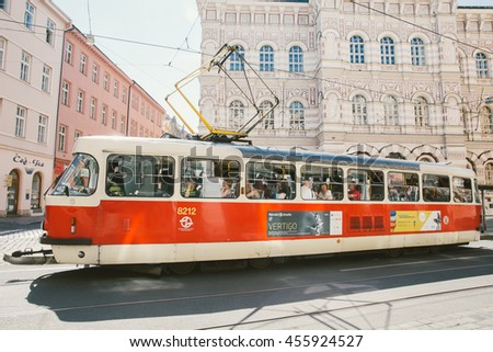 PRAGUE, CZECH REPUBLIC - May 19,2016: Prague City Center.  Red tram Tatra T3R.P in Prague.