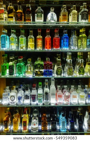 Prague, Czech Republic - November 25, 2016: Mini bar bottles collection in the alcohol shop
