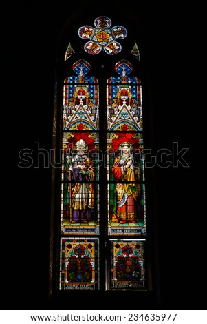 PRAGUE, CZECH REPUBLIC - SEPTEMBER 04, 2014: Stained glass window of St. Ludmila Church (St. Ludmila of Bohemia)