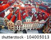 Prague Old Town Square row houses with traditional red roofs in the Czech Republic - stock photo