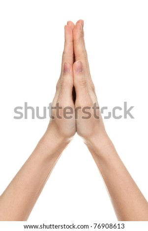 praying hands of a woman, isolated on white