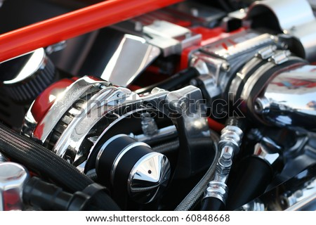 Precision muscle car engine that produce intense horsepower and incredible speed. Used in race cars and automotive show cars.