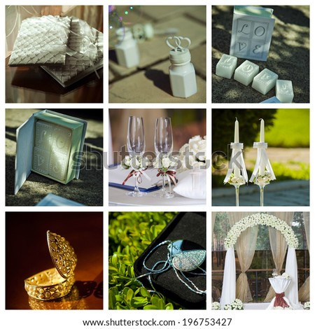Prefect collage of wedding pictures decorations in light colour