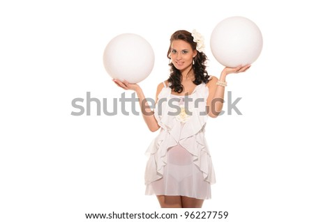 pregnant woman holding two white ball isolated on white
