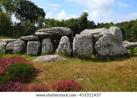 Prehistoric building - dolmen - in french Brittany.