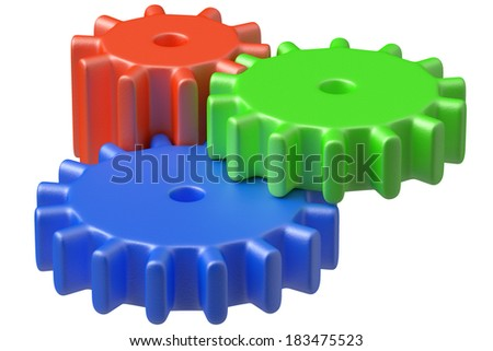 Preschool technical education concept: three colorful plastic toys cogwheels construction isolated on white background, 3D illustrarion