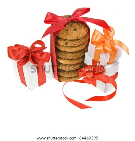 present box and cookies with red bow isolated