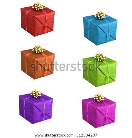 present gift boxes isolated on white background