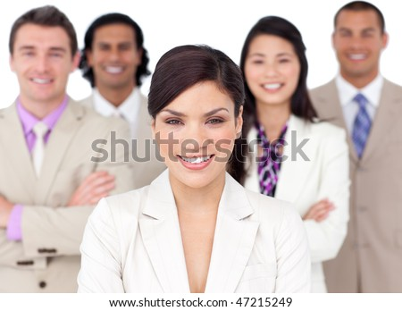 Presentation of a competitive business team against a white background