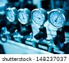 Pressure gauge, measuring instrument close up.  - stock photo