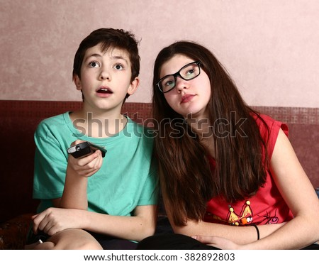 Teen Siblings Brother Sister Watching Tv Stock Photo ...