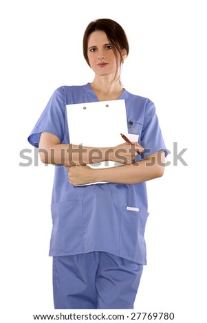 pretty brunette nurse standing on white isolated background