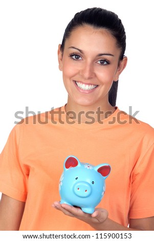 Pretty brunette woman with a piggy-bank isolated on white background