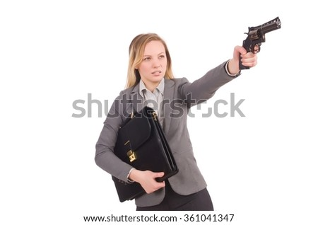 Pretty employee with handgun isolated on white