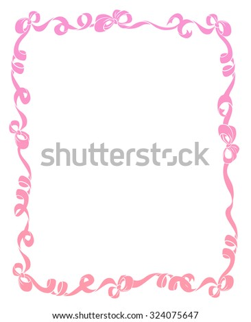 Pretty frame or border of baby pink curled ribbons and bows isolated on white