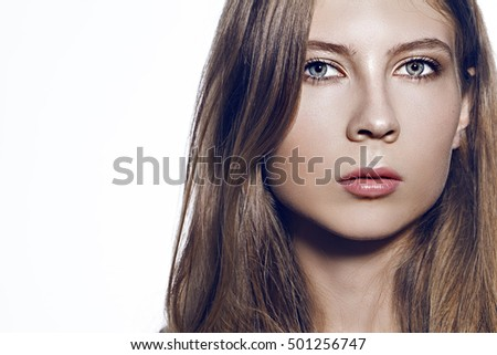 pretty girl natural beauty at the white background portrait