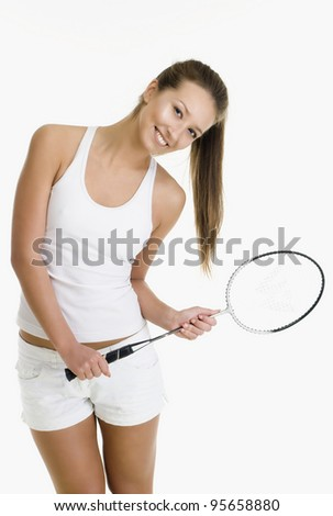 Pretty girl with a badminton racket