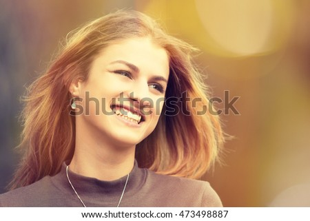 Pretty laughing teenage girl portrait