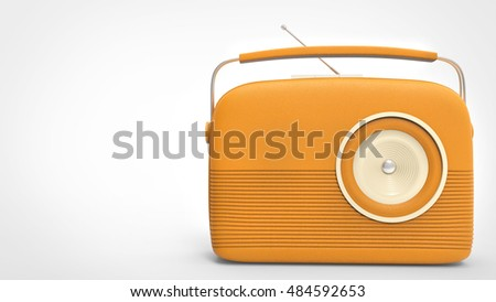 Pretty orange retro vintage radio - 3D Illustration
