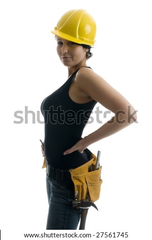 pretty sexy young woman construction worker contractor with tools and hard hat