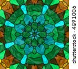 Pretty stained glass kaleidoscope in hues of green, cyan and brown. - stock photo